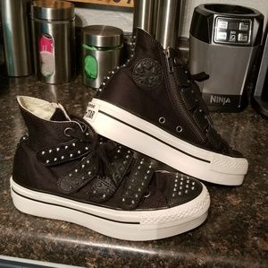 Converse black platform hi-top sneakers 6
